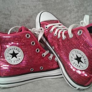 Converse Pink Sparkle High Tops Women's Size 7